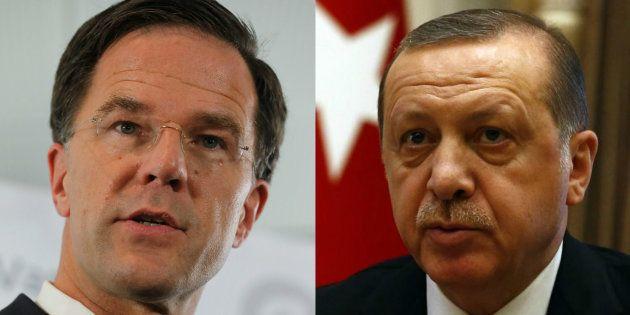 Mark Rutte, el primer ministro de Holanda, y Recep Tayyip Erdogan, el presidente de Turquía, retratados...