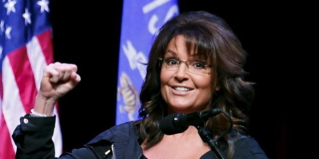 Former Alaska Governor Sarah Palin speaks during a Town Hall at the Racine Civic Centre Memorial Hall...