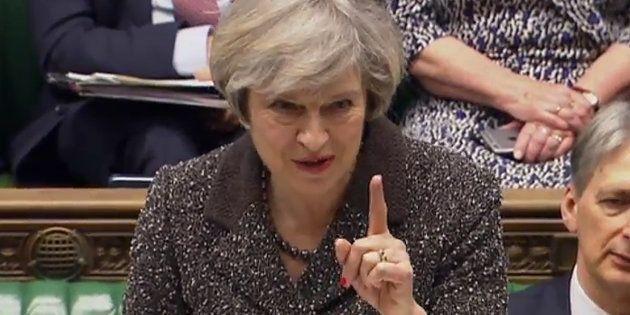 La primera ministra británica, Theresa May, durante su intervención de este martes en el