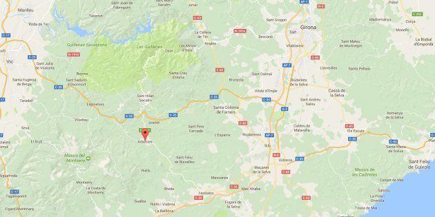 Situación de Arbúcies, una localidad a poco más de 45 kilómetros de