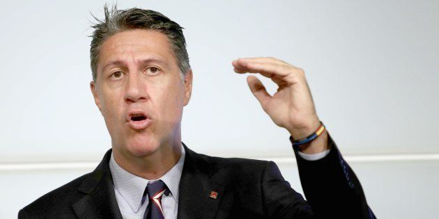 El líder del PPC, Xavier García Albiol, durante una rueda de prensa ofrecida ayer en