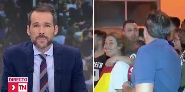 La pillada a un periodista de Telemadrid durante una manifestación en