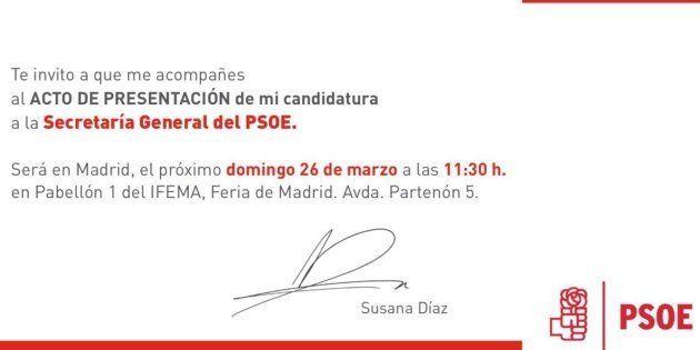 Así es la invitación de Susana Díaz a la presentación de su