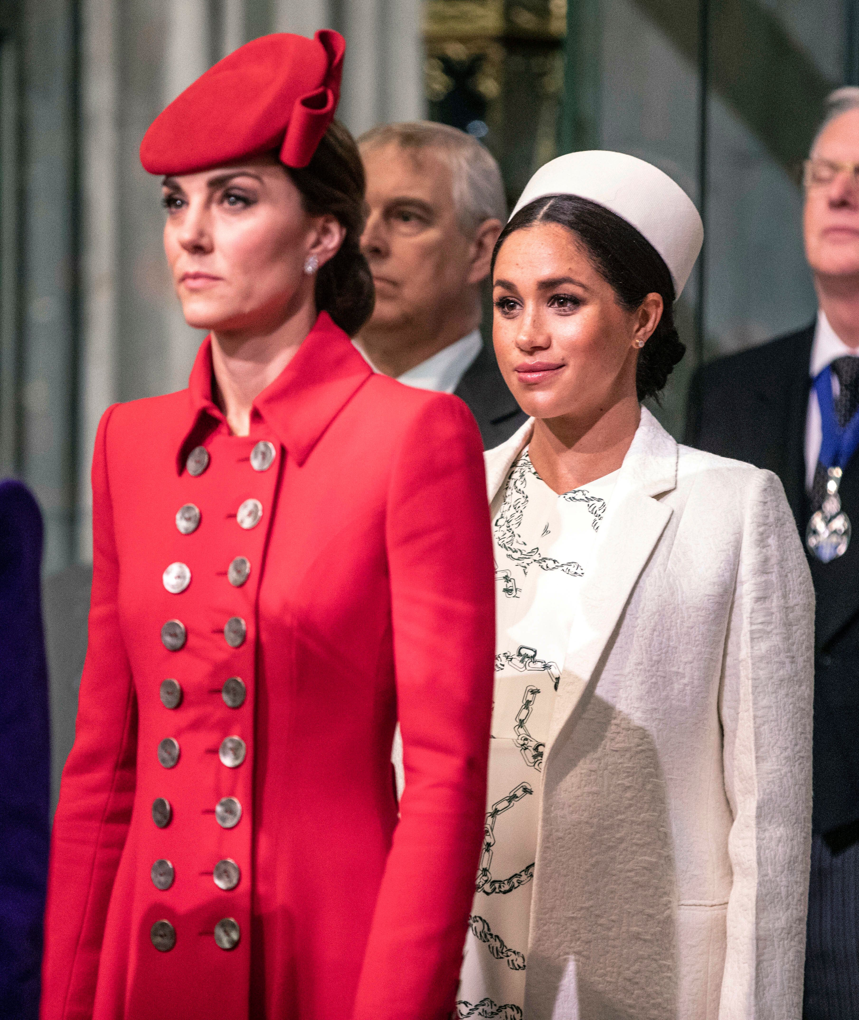 Britain's Kate, the Duchess of Cambridge, foreground, and Meghan, the Duchess of Sussex attend the Commonwealth Service with other members of the Royal family at Westminster Abbey in London, Monday, March 11, 2019. Commonwealth Day has a special significance this year, as 2019 marks the 70th anniversary of the modern Commonwealth - a global network of 53 countries and almost 2.4 billion people, a third of the world's population, of whom 60 percent are under 30 years old. (Richard Pohle/Pool Photo via AP)
