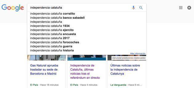 La primera búsqueda que sugiere Google al buscar