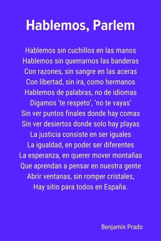 'Hablemos, Parlem', el poema de Benjamín Prado sobre la necesidad de diálogo en