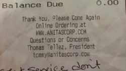 Una camarera recibe una oleada de propinas tras recibir este mensaje racista en la