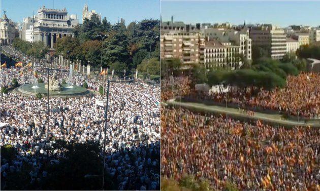 Españolistas y partidarios del diálogo se manifiestan en