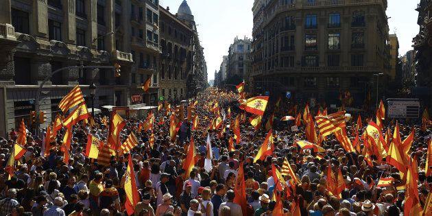 La manifestación antiindependentista desborda
