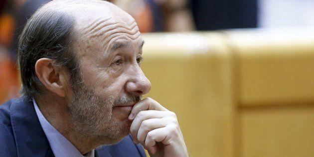 Alfredo Pérez Rubalcaba, retratado en el Senado, en una imagen de