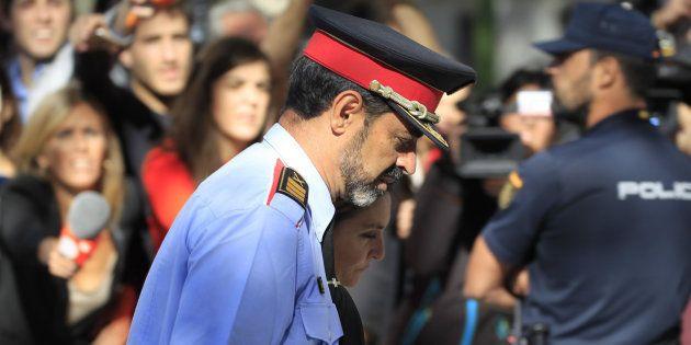El jefe de los Mossos d'Esquadra, Josep Lluis Trapero, a su salida de la Audiencia Nacional el pasado...