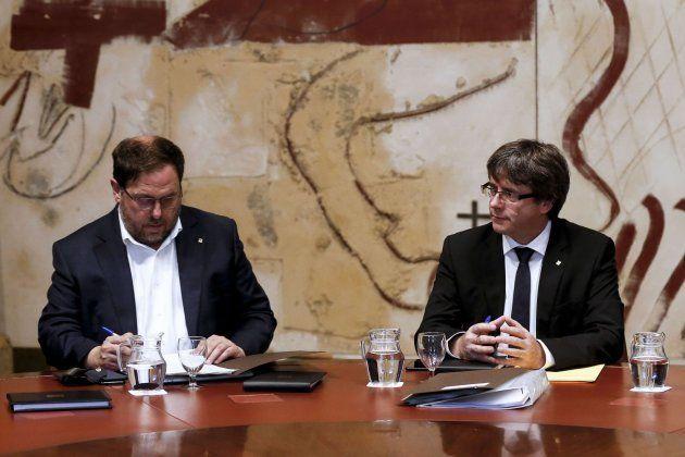 Junqueras y Puigdemont este martes en el
