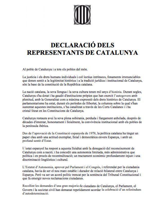 Esta es la declaración que han firmado Puigdemont y los diputados de Junts pel Sí y la