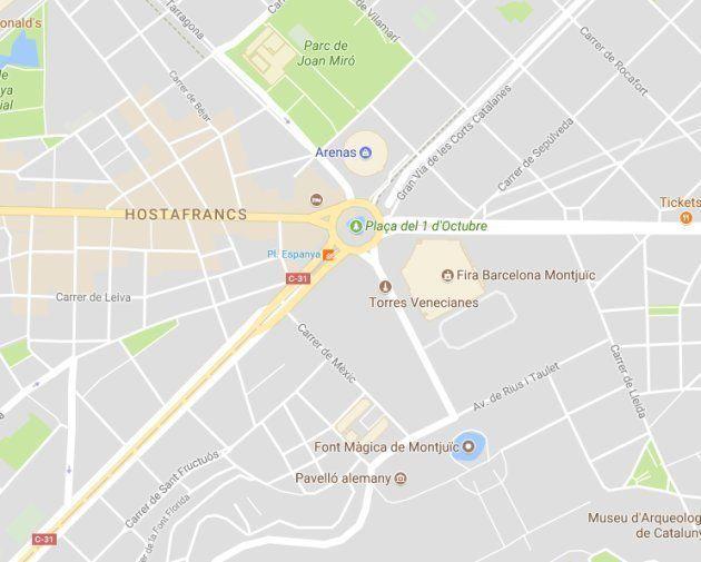Un hacker rebautiza la Plaza de España de Barcelona y la nombra Plaza del 1 de