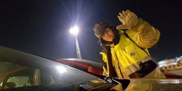 Rosa Dilla, a la llegada a su jornada nocturna en el Puerto de