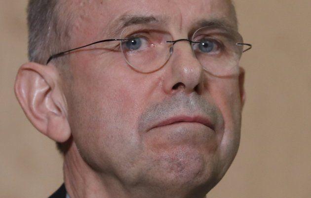 Günter Lubitz, padre de Andreas, durante la rueda de