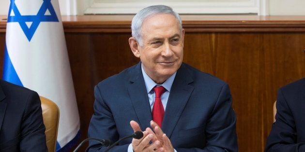 El primer ministro de Israel, Benjamin Netanyahu, durante la reunión semanal de su gabinete, el pasado...