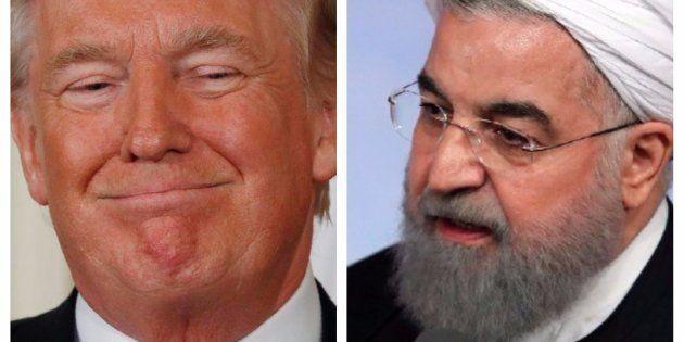 Combo con las imágenes del presidente de EEUU, Donald Trump, (izq) y de su homólogo iraní, Hassan Rouhani,