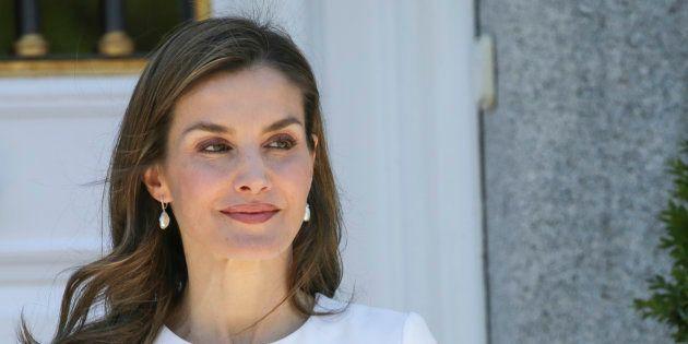 La reina Letizia durante la recepción al presidente de Eslovenia en el Palacio de la Zarzuela en junio...
