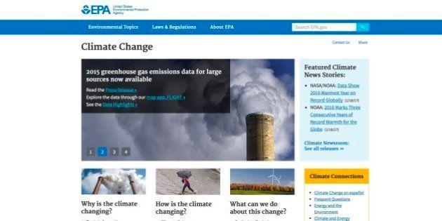 Trump ordena a la Agencia de Protección Ambiental retirar la web sobre cambio
