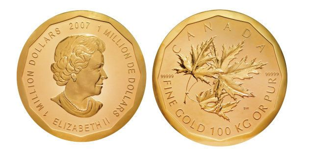 Vista del anverso y el reverso de la moneda 'Big Maple