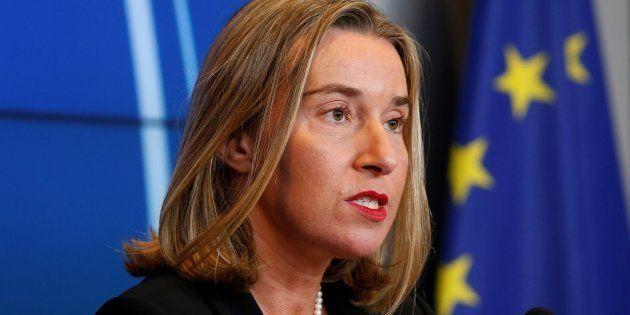 La jefa de la diplomacia europea, Federica Mogherini, ofrece una rueda de prensa este