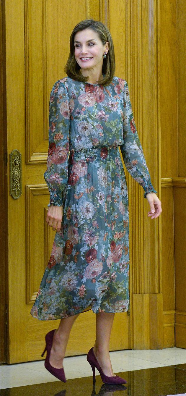 La reina Letizia en una audiencia en el Palacio de la