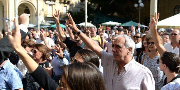 Manifestación en protesta por el asesinato de la periodista Daphne Caruana