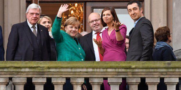La canciller alemana Angela Merkel tras la primera