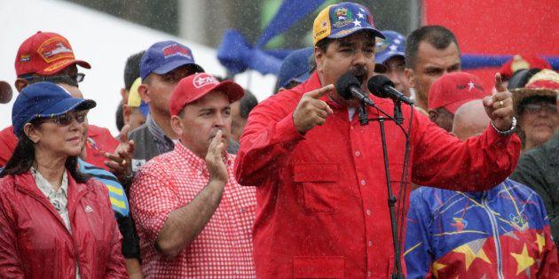 El presidente de Venezuela, Nicolás Maduro, durante un mitin en Venezuela, el pasado 9 de