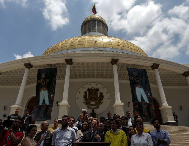 El presidente de la Asamblea Nacional de Venezuela, el opositor Julio Borges, durante su intervención...