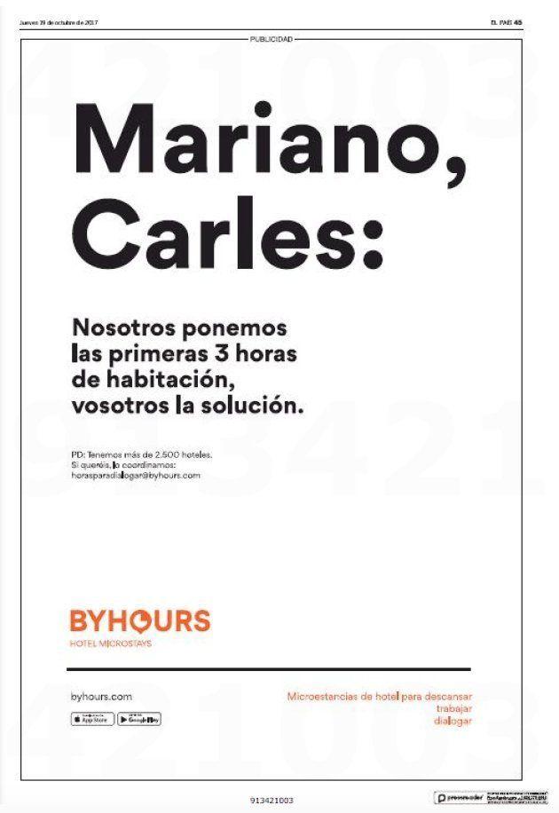 El sugerente anuncio de una plataforma de hoteles barcelonesa para solucionar la crisis en
