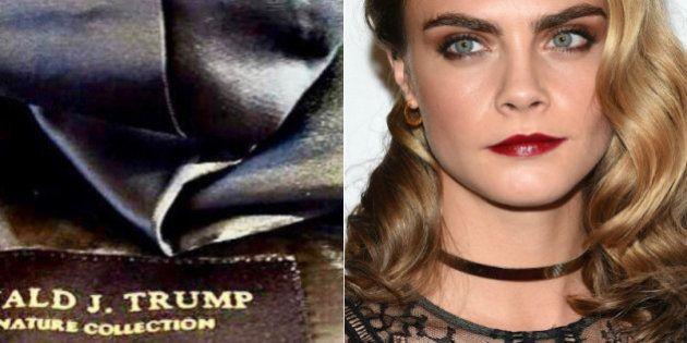 La expresiva reacción de Cara Delevingne al percatarse de que la ropa de Trump está hecha en