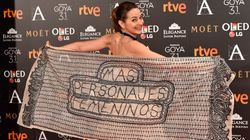 El chal reivindicativo de la actriz Cuca Escribano en los Goya: