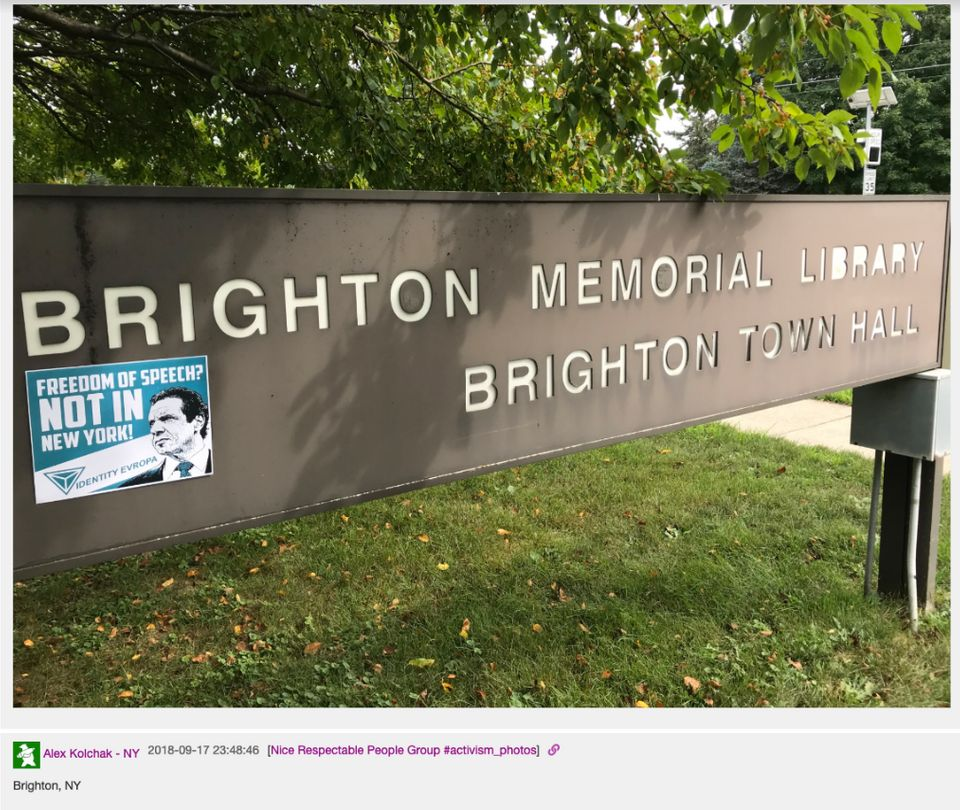 Last fall, Identity Evropa flyers and stickers were posted across Brighton, New York. Police matched...