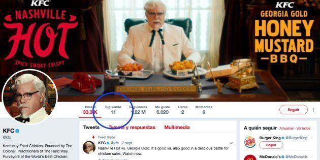 Un usuario se ha percatado de quiénes son las 11 personas a las que KFC sigue en