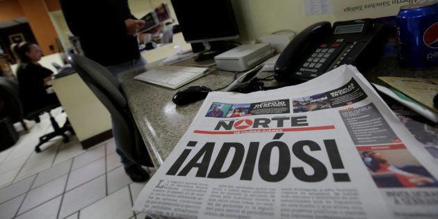Última portada del diario 'Norte', anunciando su cierre por