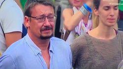 Las lágrimas de Xavier Domènech durante la manifestación en Barcelona tras el