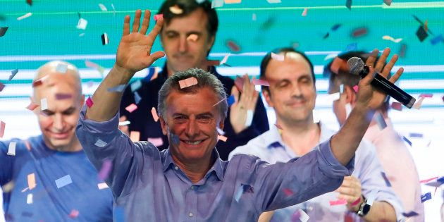 El presidente argentino, Mauricio Macri, celebra los resultados este