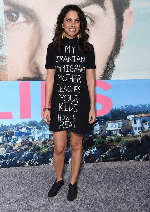El ingenioso vestido de esta actriz contra el veto migratorio de Donald