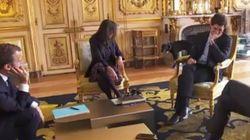 El perro de Macron, cazado orinando en plena reunión con sus