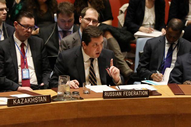 Vladimir Safronkov, el embajador ruso ante la ONU, durante su intervención de