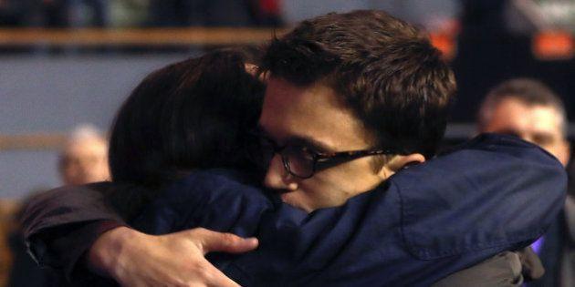 El abrazo entre Pablo Iglesias e Íñigo Errejon en Vistalegre
