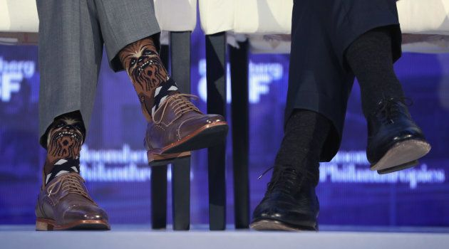 Los calcetines de Chewbacca de Justin Trudeau en un foro global celebrado en Nueva York el 20 de septiembre...