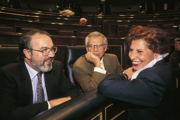Alborch con Pedro Solbes y Josep Borrell, en el Congreso de los Diputados