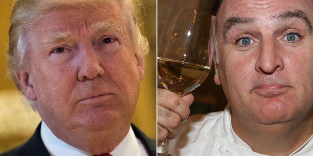 El presidente de Estados Unidos Donald Trump y el cocinero José