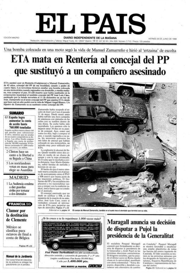 Portada del diario 'El País' tras el asesinato del concejal del PP Manuel Zamarreño, en