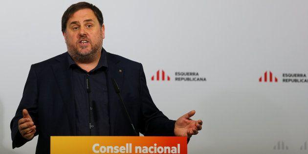 El vicepresidente catalán, Oriol Junqueras, el pasado 14 de octubre, en el consejo nacional de su formación,...