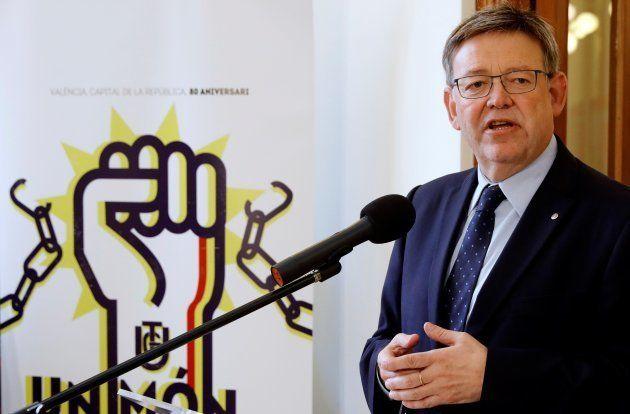El presidente de la Generalitat valenciana, Ximo Puig, durante la inauguración de la exposición