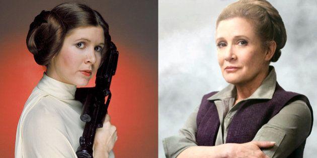 La princesa Leia en el episodio IV (izquierda) y la general Organa Solo en el VII